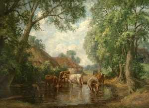 George Leon Little - Cows in a Landscape