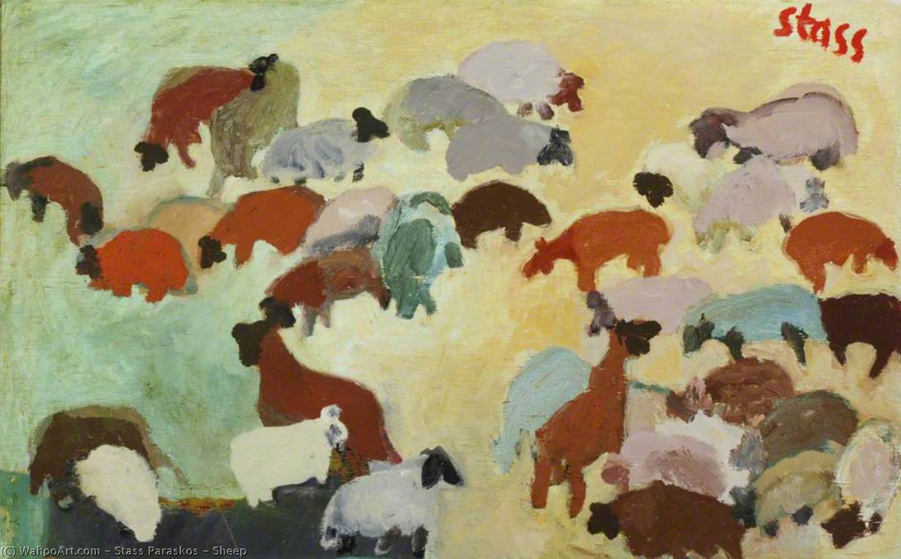 Order Reproductions | Sheep by Stass Paraskos | Most-Famous-Paintings.com