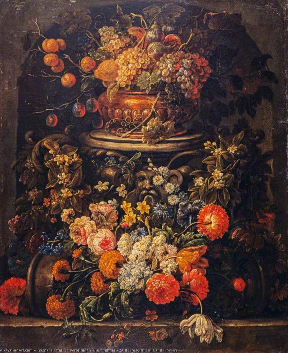 Order Reproductions | Still Life with Fruit and Flowers by Gaspar Peeter De Verbruggen The Younger | Most-Famous-Paintings.com