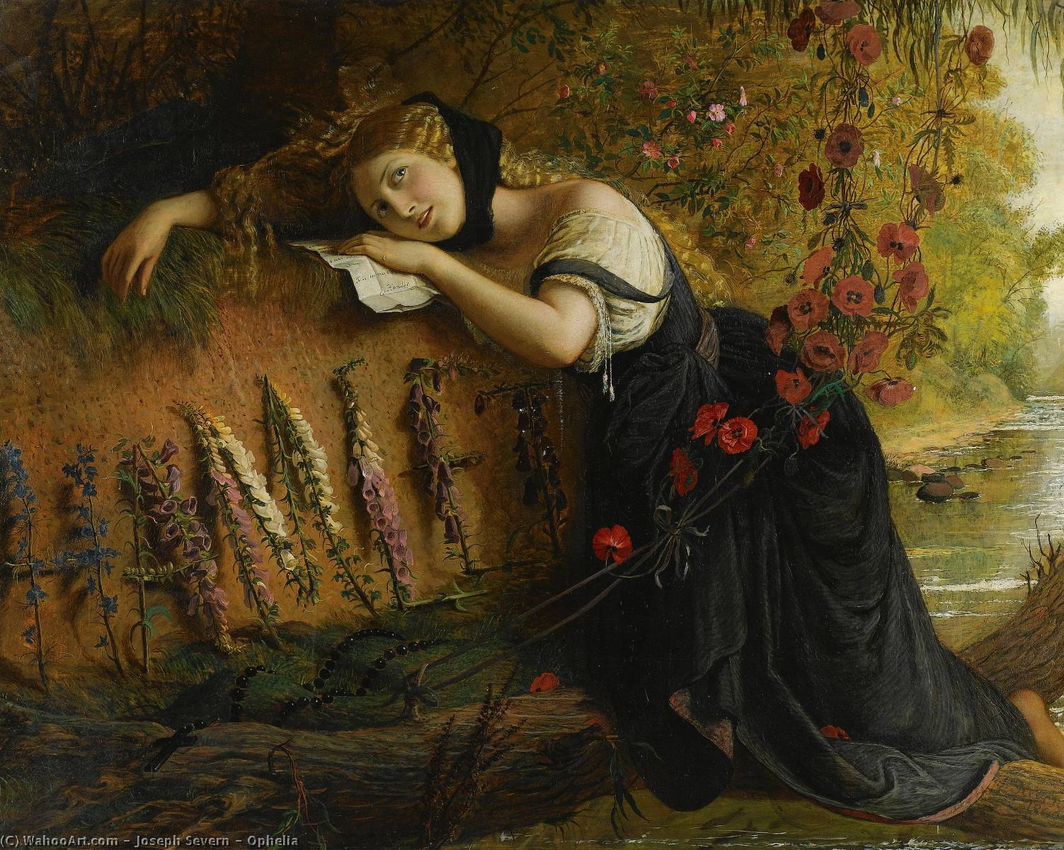 Order Reproductions | Ophelia by Joseph Arthur Palliser Severn | Most-Famous-Paintings.com