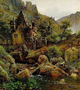 Eduard Wilhelm Pose - Landscape with a Watermill in Morgenbachtal